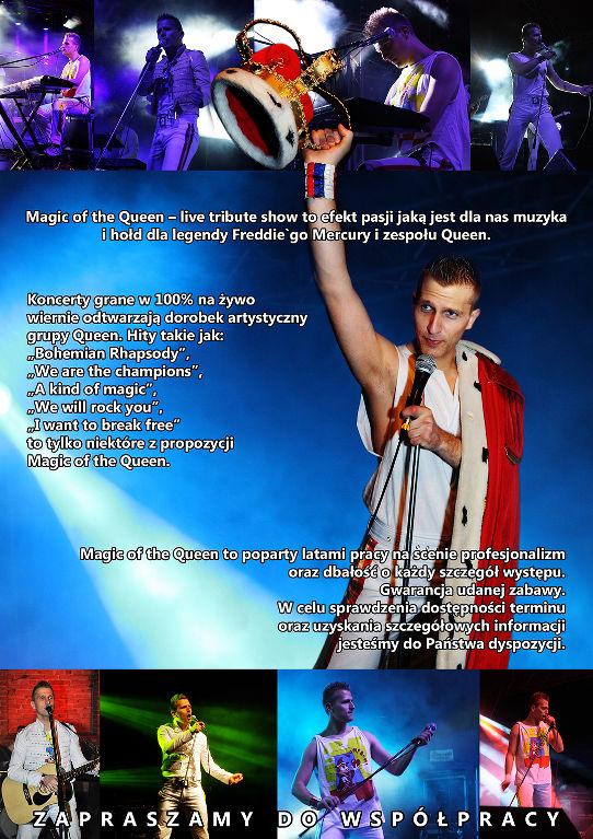 oferta zespołu - Magic of the queen: koncerty grane w 100% na żywo. Wiernie odtwarzają dorobek artystyczny grupy Queen.